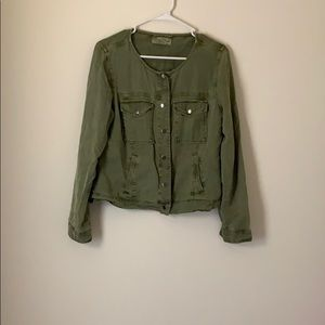 Lucky Brand Green Denim Jacket Size Medium